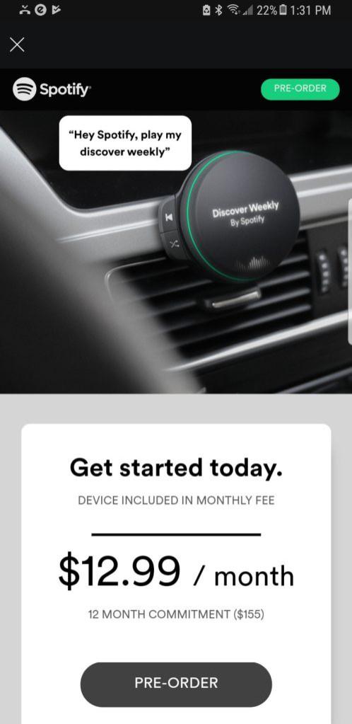 Se rumora que asi seria el dispositivo de Spotify para los carros.