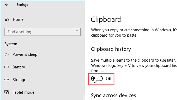 nuevo portapapeles de Windows 10