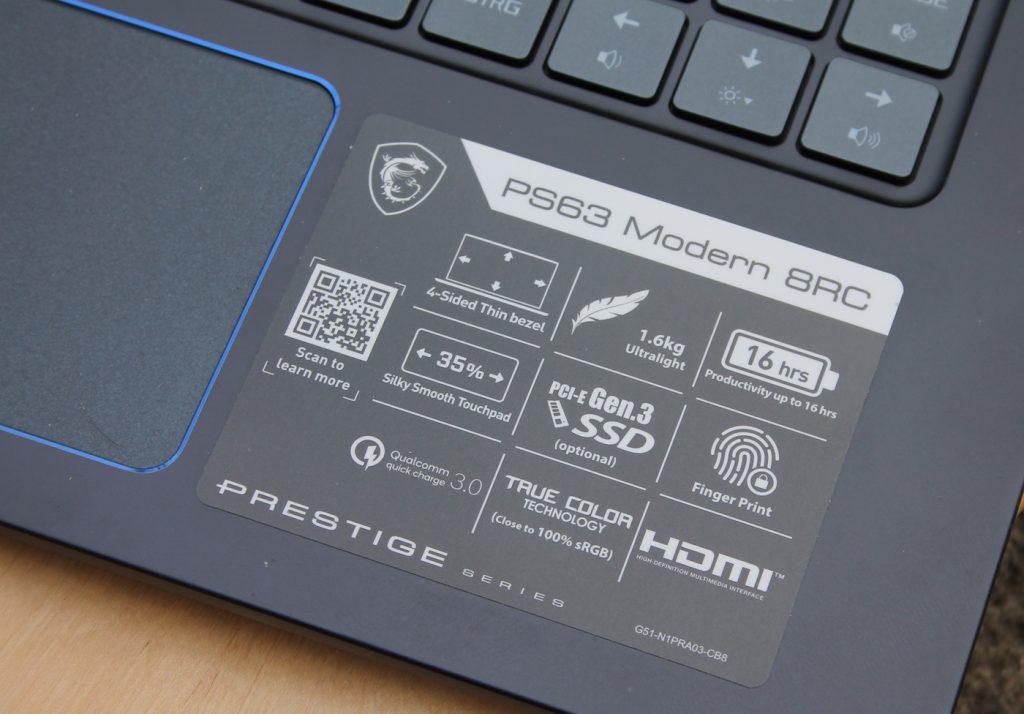 MSI PS63 Modern 8RC
