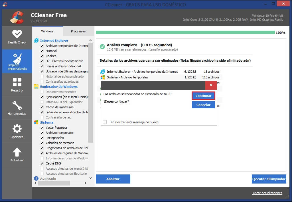 eliminar archivos temporales de Windows 10