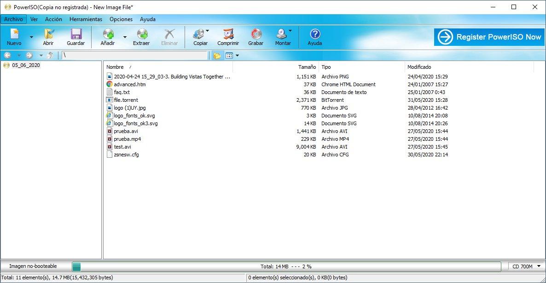 crear y extraer un archivo ISO con WinRAR