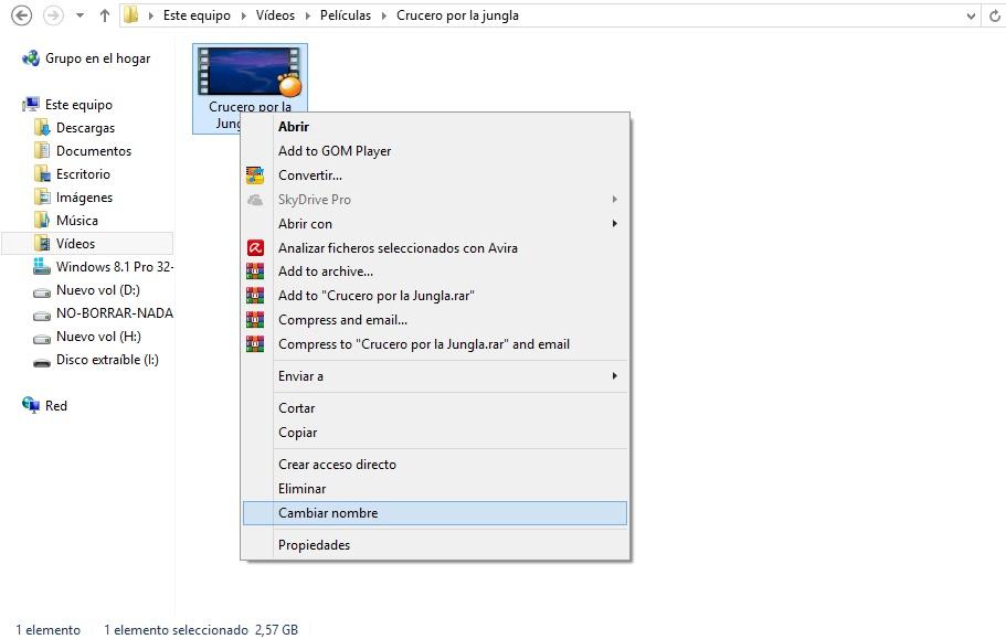 cambiar la extensión de un archivo